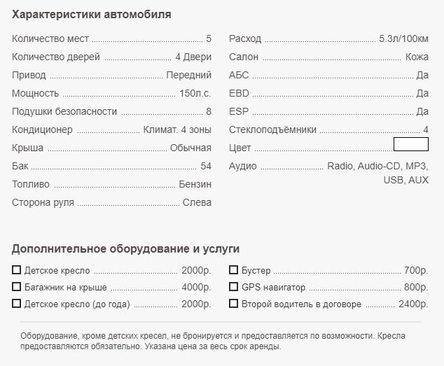 Аренда Audi A4 в Крыму - характеристики авто
