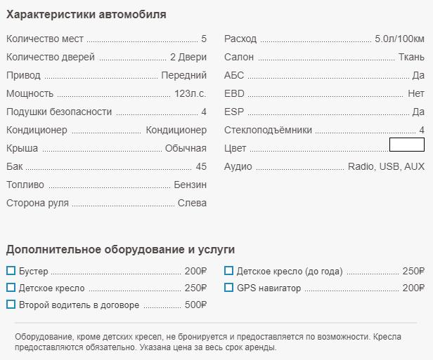 Аренда авто в Крыму - Характеристики Hyundai Solaris 2020.