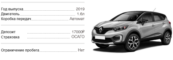 Аренда Renault Kaptur 2019 в Крыму