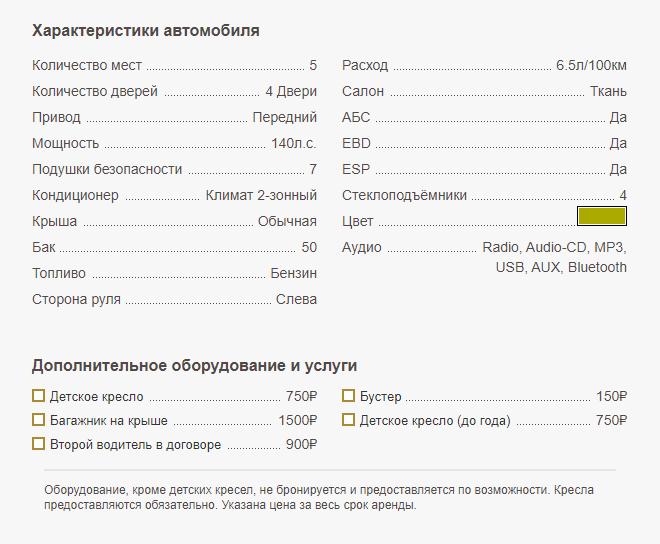 Характеристики KIA X Ceed (2020) - аренда в Крыму
